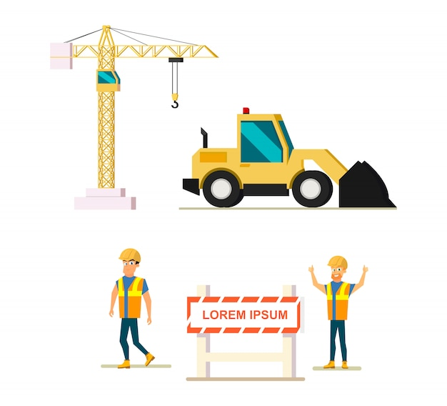 Modern construction industry flat vector icons set
