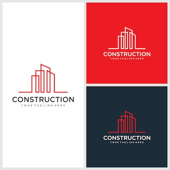 Modern construction logo design, architectural, building premium