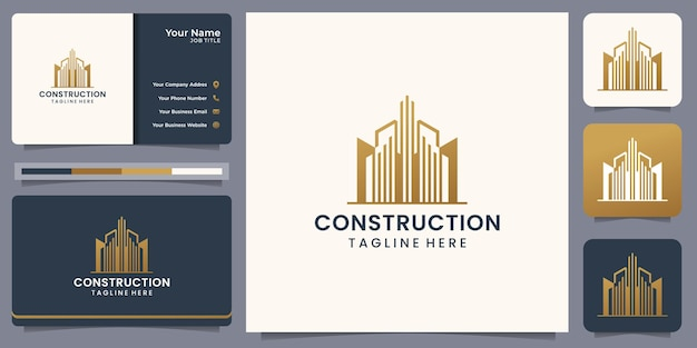 Modern construction logo with business card.inspiration logo for builder, architecture, real estate.