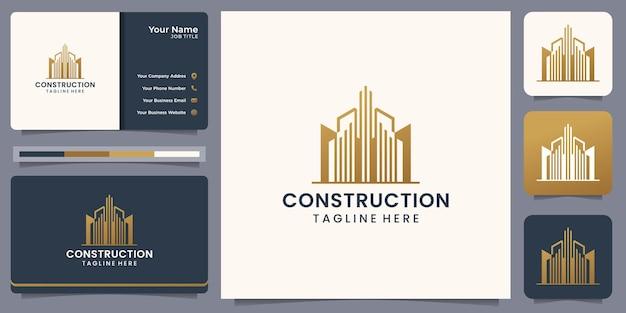 건축업자, 건축, 부동산을 위한 비즈니스 card.inspiration 로고가 있는 현대 건설 로고.