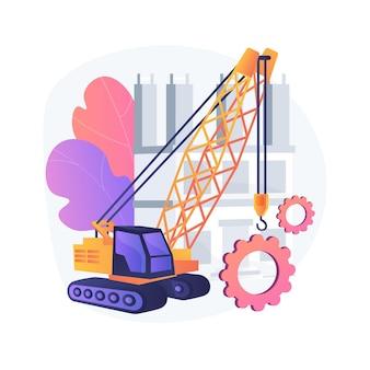 Современная строительная техника абстрактная иллюстрация концепции. тяжелое оборудование для стройки, промышленное и тяжелое оборудование в аренду, обслуживание и инжиниринг.