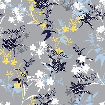 폴카 도트 식물 모양의 매끄러운 패턴 벡터 eps10, 패션, 직물, 섬유, 벽지, 커버, 웹, 포장 및 모든 인쇄물을 위한 디자인을 갖춘 현대적인 현대적인 실루엣 꽃