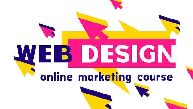 밝은 색상의 웹 커서와 단어 디자인이 있는 현대적인 멋진 기하학적 템플릿