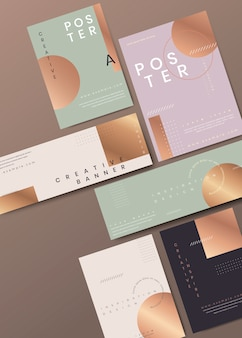 Modern copper stationery set