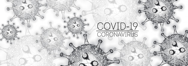Modern coronavirus 2019-ncov, covid-19 web banner template in black on white background.