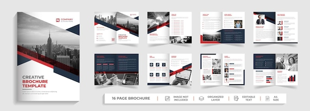 Modern corporate 16 page bifold business brochure and company profile design with red and black shape