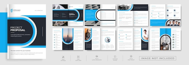 Modern corporate 16 page landscape brochure design with abstract creative shape template
