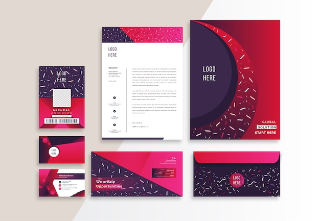 Modern corporate branding identity stationery template