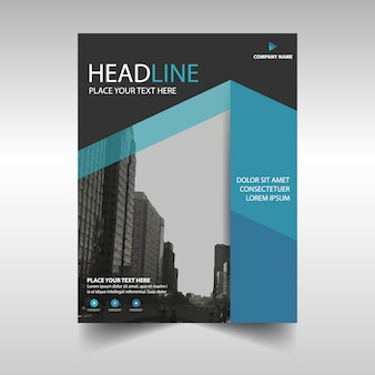 Modern corporate brochure template with blue geometric shapes