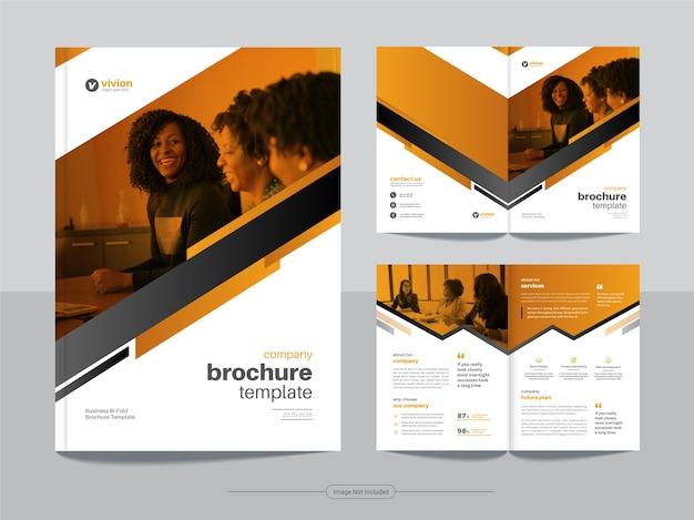 Современный корпоративный бизнес-шаблон двойной брошюры с абстрактным дизайном оранжевого цвета