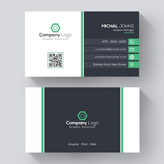 Modern corporate business card template, creative visit card with green details