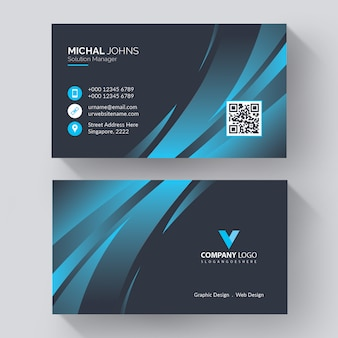 Modern corporate business card template with modern, creative visit card with blue details