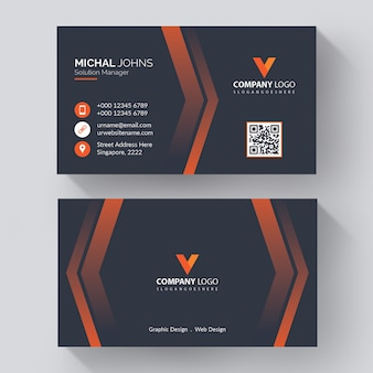 Modern corporate business card template with modern, creative visit card with orange details