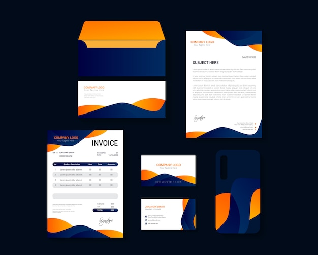 Modern corporate business identity stationary design set