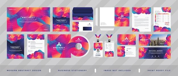 Современный корпоративный бизнес профессиональный брендинг канцелярских товаров дизайн набор