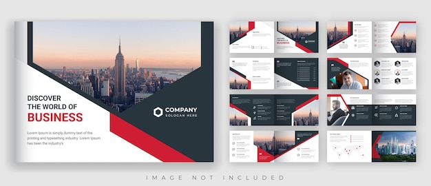 Modern corporate or business promotion 16 pages landscape brochure in red