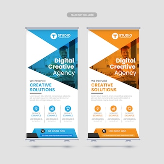 Modern corporate business rollup banner template premium vector