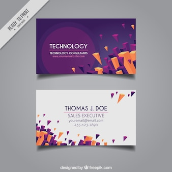 Modern corporate card with three-dimensional shapes