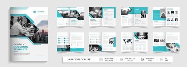 Modern corporate creative digital business agency 16 pages multipage brochure company profile design