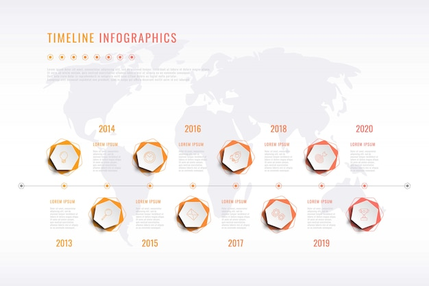 Modern corporate history visualisation with hexagonal elements, year indication and world map on