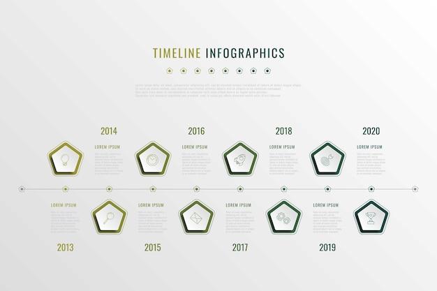 Современная визуализация корпоративной истории с пятиугольными элементами, индикацией года и маркировочными иконками. реалистичные 3d бизнес-данные инфографики. шаблон слайда презентации компании.