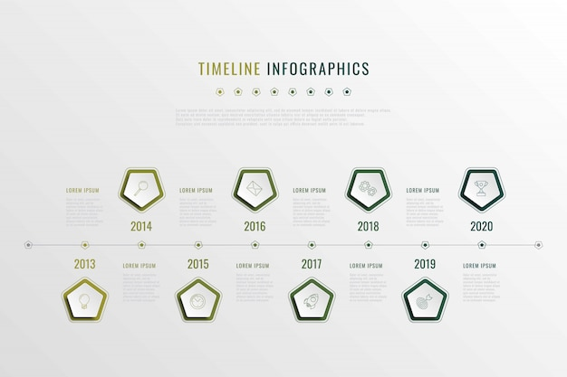 Modern corporate history visualisation with pentagonal elements, year indication and markewting icons. realistic 3d business data infographic. vector company presentation slide template. eps 10
