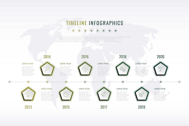 Modern corporate history visualisation with pentagonal elements