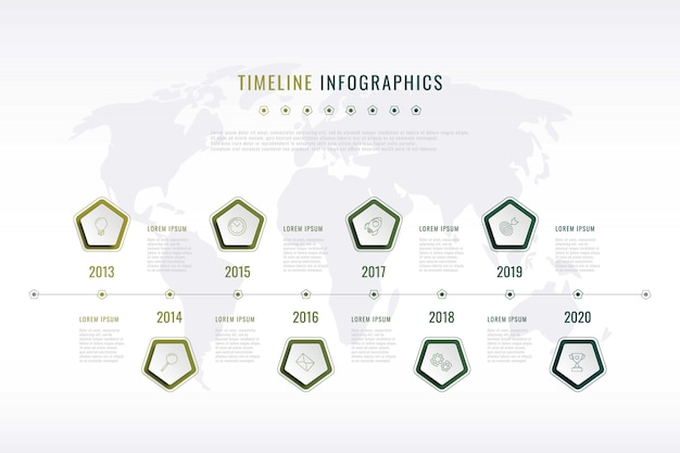 Modern corporate visual history with pentagonal elements