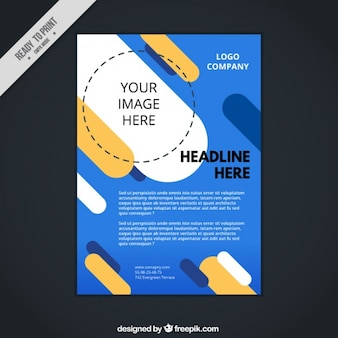 Modern corporative flyer with flat shapes