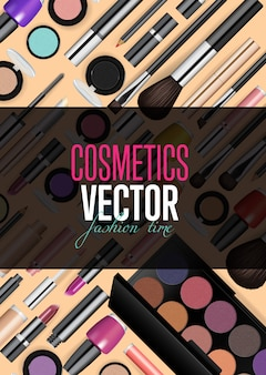 Modern cosmetics accessories banner template