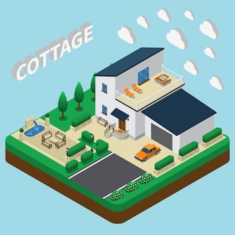 Modern cottage isometric