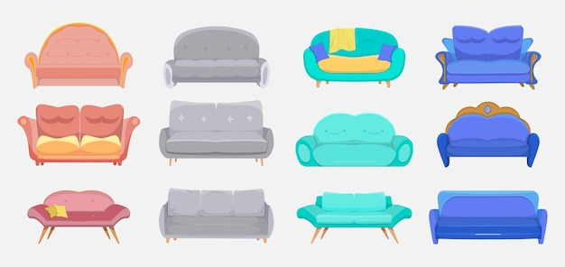 Modern couches set. sofas for hotels and homes, living room furniture, divans for lounge interior.  cartoon illustration