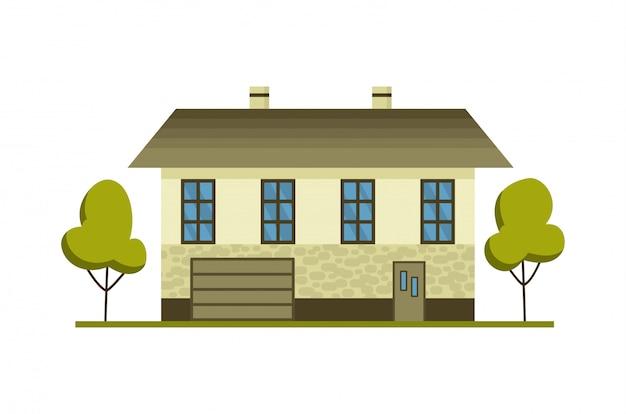 예약 및 생활을위한 현대 국가 집. 지붕 집 외관 그림 전면보기입니다. 문과 창문이있는 집 외관. 현대 타운 하우스 코티지. 부동산 건물 아이콘