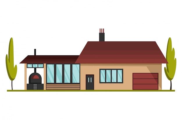 현대 국가 집. 지붕 집 외관 그림 전면보기입니다. 문과 창문이있는 집 외관. 현대 타운 하우스 코티지. 부동산 건물 아이콘
