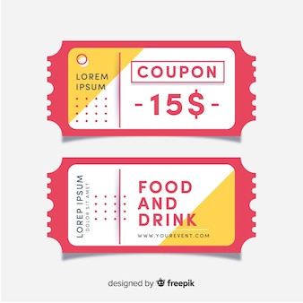 Modern coupon template with flat design