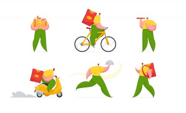 Modern couriers delivering hot food.   illustration