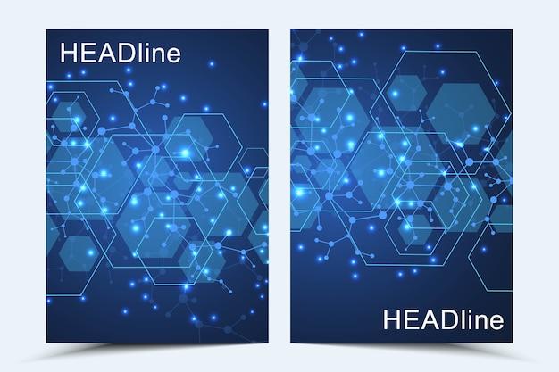 モダンカバー。線と点を結んで抽象芸術構成。波の流れ。デジタル技術、科学または医療の概念。