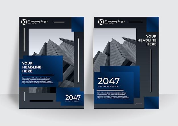 青い色のモダンなカバーデザインテンプレート。企業の年次報告書またはブックデザインテンプレート