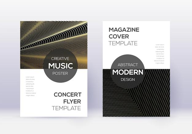 モダンなカバーデザインテンプレートセット。黒の背景にゴールドの抽象的な線。優れたカバーデザイン。貴重なカタログ、ポスター、本のテンプレートなど。
