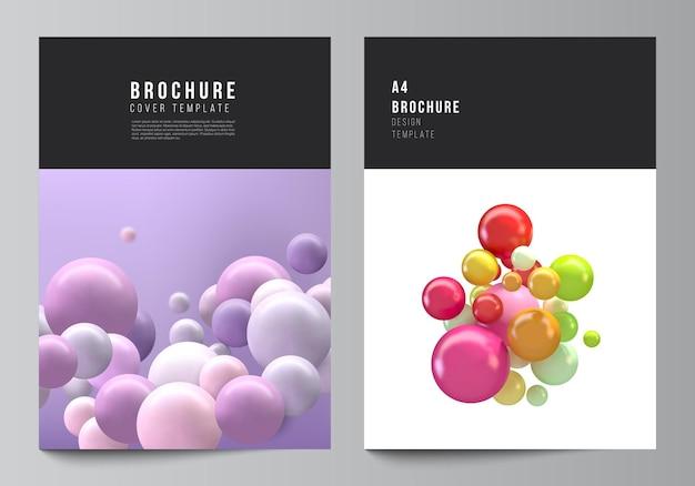 抽象的なカラフルな光沢のある泡ボールとモダンなカバーデザインテンプレート