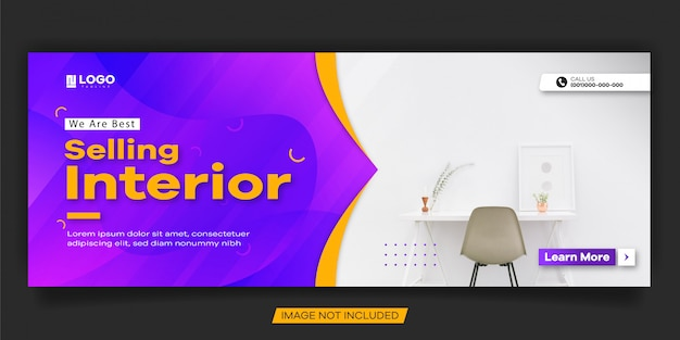 Modern cover for interior sale social media post design template