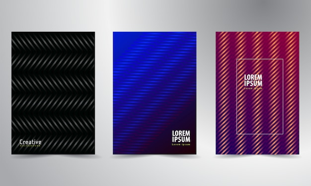 Modern cover template set with abstract lines