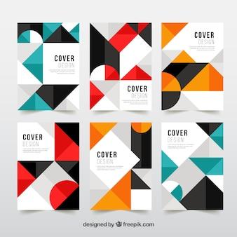 幾何学的なデザインで現代のカバーテンプレートを設定