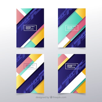 Modern cover template set with geometric design
