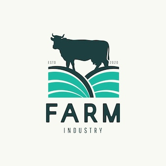 現代の牛農場のロゴのデザインコンセプト。