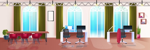 Modern coworking area creative office interior empty no people open space horizontal vector illustration