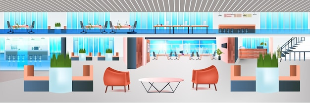Современная коворкинг-зона, творческий офисный интерьер, пустой, без людей, открытое пространство, горизонтальное.