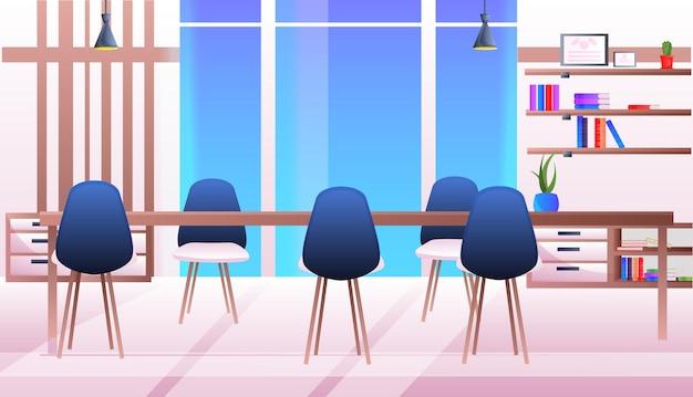 Современный коворкинг пустой без людей офис конференц-зал интерьер горизонтальная иллюстрация