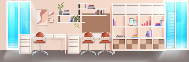 Modern coworking area office interior empty no people open space cabinet room with furniture horizontal vector illustration