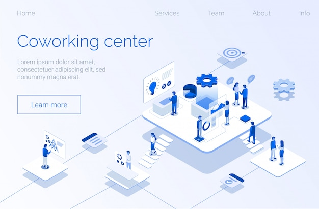 Modern coworking center landing page flat template